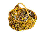 Handmade wicker basket isolated on white — Stock Photo