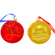 Two colorful Christmas balls isolated on white — Stock Photo