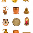 Assorted brass tools and objects group isolated on white — Stock Photo
