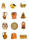 Různé dechové nástroje a objekty skupiny izolovaných na bílém — Stock fotografie