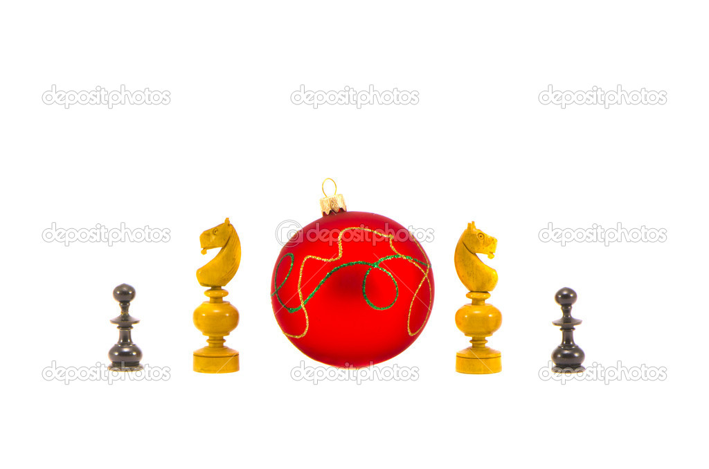 Chess knight and christmas ball isolated on white background  Stock Photo #16823397