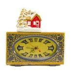 relógio antigo e vintage house de Natal — Foto Stock