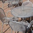Stock Photo: Street restaurant metal furniture