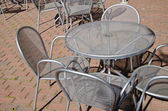 Street restaurant metal furniture — Stock Photo