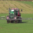 Tractor spray autumn green crop field — Stock Video #18647265