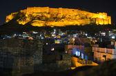Mehrangarh Fort in Jodhpur at night, India — Stock Photo