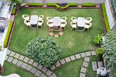 Street restaurant furniture in Varanasi, India — Stock Photo