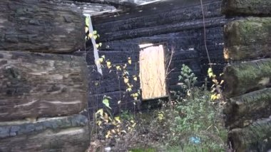 Ruined house window hole after fire in autumn — Stock Video
