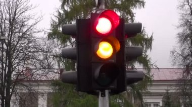 Stoplight in city street — Stock Video