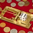 Gamble game with casino dices concept — Stok fotoğraf