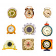 Various assorted vintage clocks group isolated on white — Stock Photo