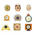 Various assorted vintage clocks group isolated on white — Stock fotografie