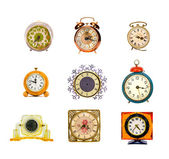 Various assorted vintage clocks group isolated on white — Zdjęcie stockowe