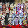 Various colorful shoes in India market — Stock Photo