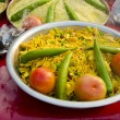 Indian food in plate and frankincence in market — Stock Photo