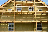 Wooden house exterior thermal insulation with mineral rockwool — Stock Photo