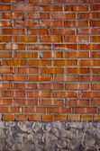Red bricks and concrete wall background — Stock Photo