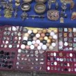 Stock Video: Stone souvenirs collection in market, India