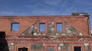 Historical manor watermill ruins and sky — Stock Video