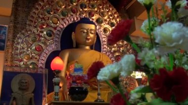Golden Buddha statue in Dharamsala temple,India — Stock Video