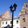 Stock Photo: Old town street with historical house in Kaunas, Lithuania