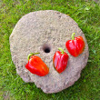 Stock Photo: Three red peppers on old millstone