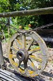 Old aged wooden cart wheel in farm — Stock Photo