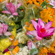 Stock Photo: Various flowers and lotus in Varanasi street market, India