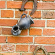 Royalty-Free Stock Photo: Old red bricks wall with horseshoe and jug