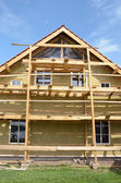 New wooden rural house thermal insulation with rockwool — Stock Photo