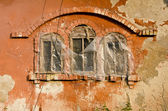 Historical manor ruins wall with three windows — Stock Photo