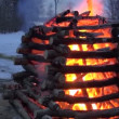 Spring equinox celebration mardi gras fire in evening.Pancake day — Stock Video