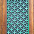 Green painted metal grate on city door — Stock Photo