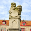 Historical sculpture with two lions in Bruges,Belgium — Stock Photo
