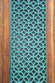 Green painted metal grate on city door — Stock Photo