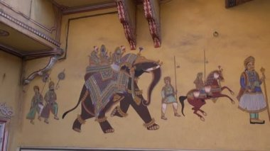 Historical palace wall painting in Jaipur, Rajasthan,India — Vidéo