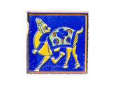 Alte schöne indische fliese mit kamel symbol isoliert — Stockfoto