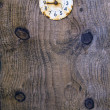 Old  plank background with ancient clock face — Stock Photo