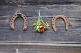 Wild strawbbery bunch and two horseshoe on old wooden wall — Stock Photo