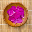 Stock Photo: Wild rose eglantine petals in wooden plate