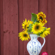 Summer time sunflowers beautiful bouquet in elegant pitcher — Stock Photo