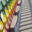 Stock Photo: Colorful concrete fence with shadow in india