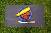 Vegetables in blue plate on black table in garden — Stock Photo