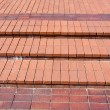 New red bricks staircase on city square — Stock Photo