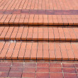 Stock Photo: New red bricks staircase on city square