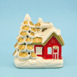 Vintage decorative Christmas house candlestick — Stok Fotoğraf #35537425