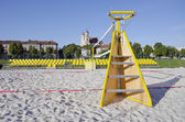 Beach volleyball court in Vilnius city near Neris river — Stockfoto