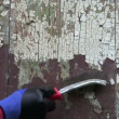 Stock Video: To scrape old paint from house wall plank with metal brush