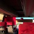 Stock Video: Empty bus interior with seats