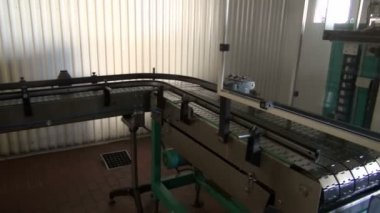 Conveyor construction in new modern beer brewery — Stock Video